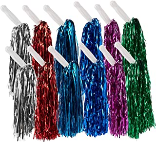 Juvale Cheerleader Pom Poms – 12 Pack Metallic Cheerleading Pom with Handles for Cheering Squads, Party Costume, Holiday Celebration, Stage Performance, and Sports, Multicolored, 12.5 x 3 x 3 Inches