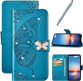 Compatibel met Samsung Galaxy A50 telefoonhoes tas portefeuille leren hoes bling glanzend glitter diamant vlinders bloemen...