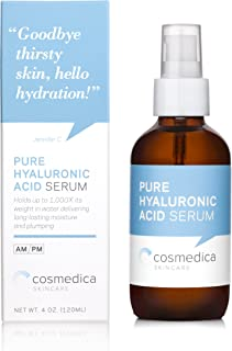 Cosmedica Hyaluronic Acid Serum for Skin – 4 Ounce Hydrating Facial Moisturizer with Anti-Aging Skin Care Properties. Beauty and Skin Care