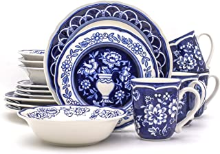 Euro Ceramica BGN-1001 Blue Garden 16 Piece Oven Safe Hand Painted Stoneware Dinnerware Set, Service for 4