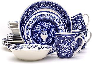 طقم أدوات مائدة من 16 قطعة من يوروسيراميكا BGN-1001 بلو جاردن مطلية يدويًا بشكل آمن للاستخدام مع 4 قطع