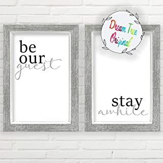 Be Our Guest, Stay Awhile Wall Decor (11x17 inch Unframed Prints, Stay A While Sign, Guestroom Decor Set of 2, Be Our Guest Sign, Set of 2 Unframed Farmhouse Prints, Be Our Guest Farmhouse Sign)