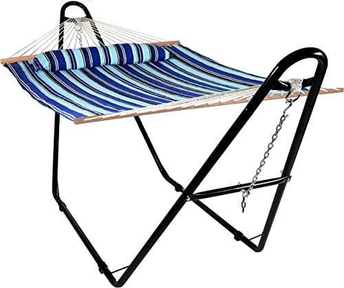 lowest Sunnydaze online sale Double Quilted Fabric Hammock with Multi-Use Universal Steel new arrival Stand, Catalina Beach Striped, 2-Person, 450 Pound Capacity outlet sale