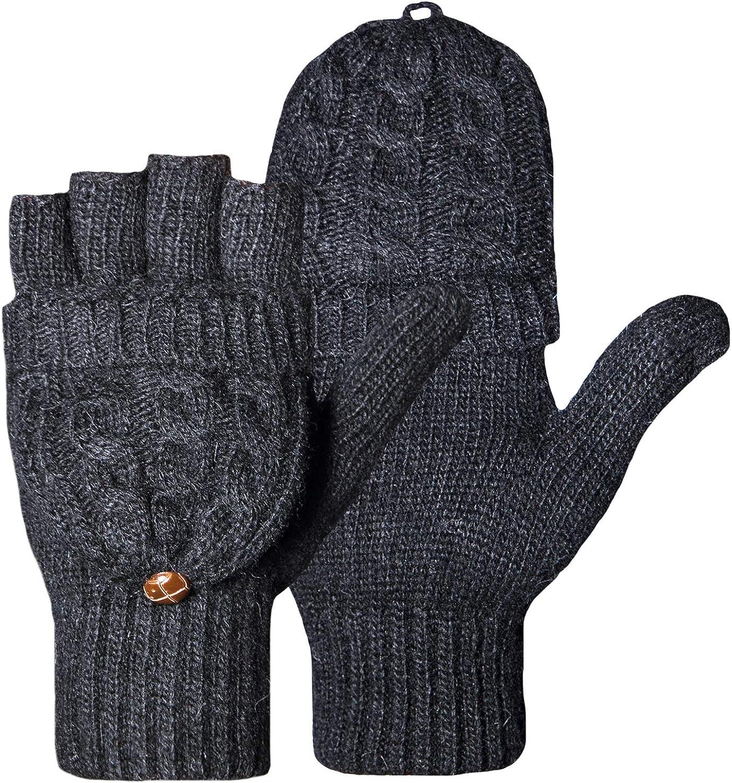 Loritta Winter Gloves Warm Wool Knit Flip Fingerless Gloves Mittens for Women Gifts