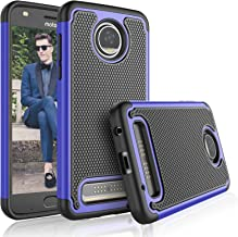 Tekcoo Moto Z2 Play Case, Tekcoo Motorola Z2 Play Droid Sturdy Case, [Tmajor] Shock Absorbing [Blue] Rubber Silicone & Plastic Scratch Resistant Bumper Grip Hard Cases for Moto Z Play 2017 Cover