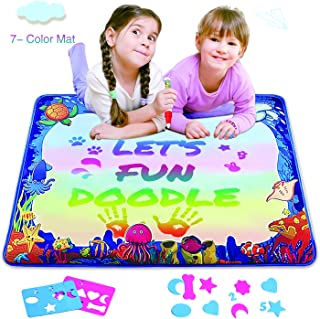 Water Drawing Mat for Kids, Play Pad Educational Gifts Developmental Toys Coloring Water Magic Mats Scribble Board Pad Painting Markers for Baby Toddler with Pens (Rainbow)