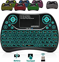 Mini Wireless Keyboard,ANEWISH 2.4GHz Handheld Keyboard,7 Color Backlit,Rechargable Touchpad Keyboard and Mouse Combo for Android TV Box,PC,Tablet,PS3