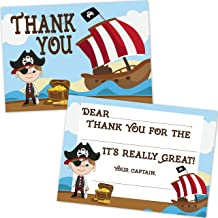 Pirate Birthday Kids Fill in Thank You Cards for Boys (20 Count with Envelopes)