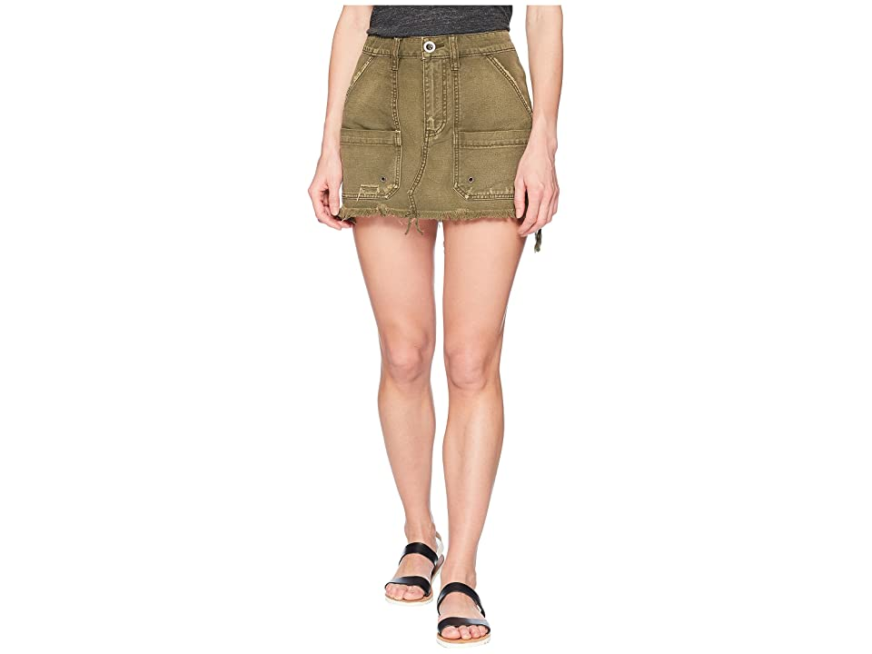 Free People Canvas Relaxed Mini Skirt (Moss) Women