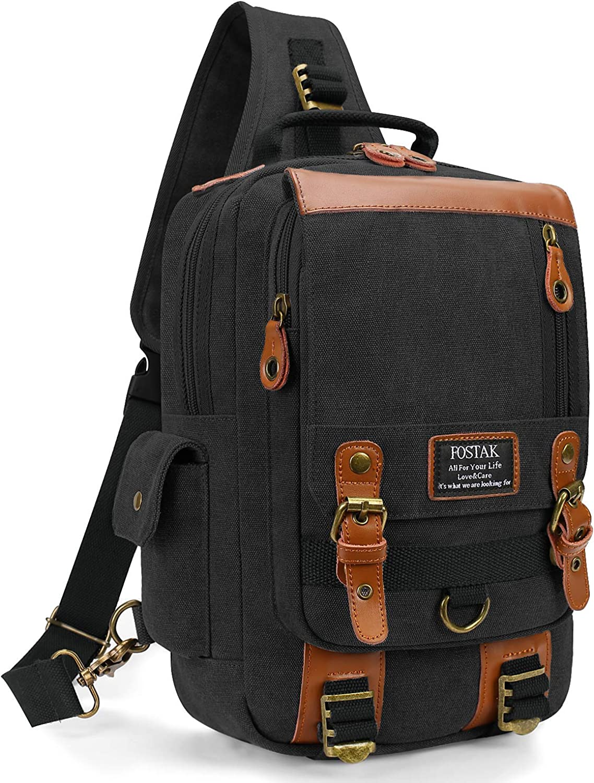 DTBG 13 Inches Messenger Bag Sling Backpack Canvas Shoulder Bag Waterproof Chest Pack Outdoor Cross Body Bag Men & Women (Black)