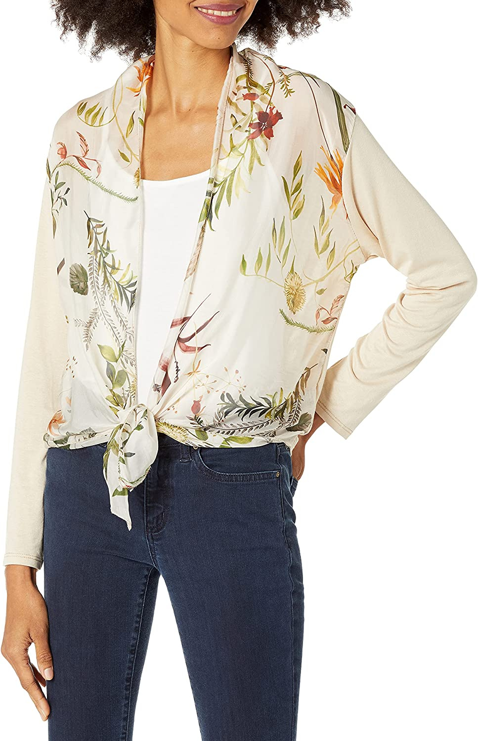 M Made in Italy Women's Floral Front Open Cardigan