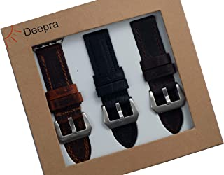 Deepra Antique Edition - Set of Three Antique Styled Leather Bands for Apple Watch 1, 2, 3 and 4, 42mm / 44mm