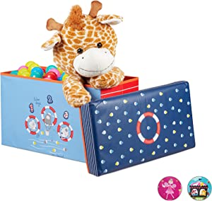 Relaxdays Children s Ottoman  Folding Storage Box for Boys and Organisers  Litres  Compact  Ocean  Blue  60 5 30 5