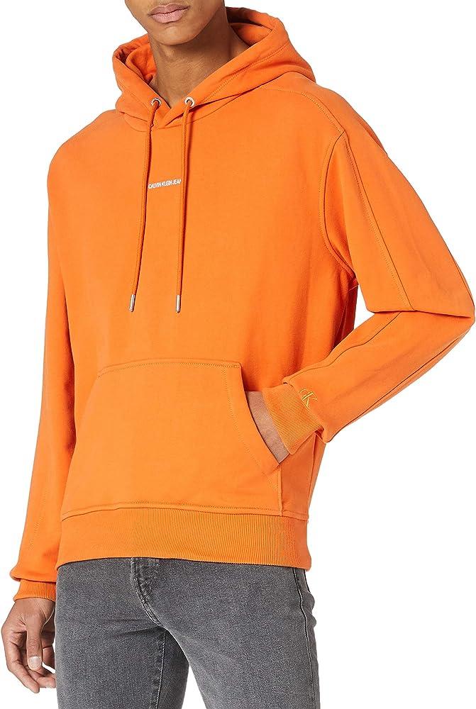 Calvin klein branding hoodie felpa con cappuccio per uomo 100% cotone J30J317388A