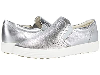 ECCO Soft 7 Perforated Slip-On (Alusilver) Women