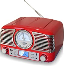 TechPlay QT62BT RED, Retro Design Compact Stereo CD, with AM/FM Rotary knob, Wireless Bluetooth Reception and USB Port. with AUX in and Headphone Jack