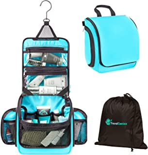 Travel Toiletry Bag and Hanging Organizer with Removable TSA-compliant Make-up and Essentials Clear Pouch - Perfect for Men & Women (Light Blue)