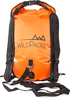 Swim Buoy Tow Float 28 Litres Dry Bag Backpack by WildPaces High Visibility Orange for Open Water Swimming Sports