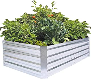 FOYUEE Galvanized Raised Garden Beds Metal Planter Box for Gardening Vegetables Flower Rectangle Outdoor High 60x36x16inch