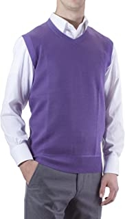 Alberto Cardinali Men's Solid Color V-Neck Sweater Vest