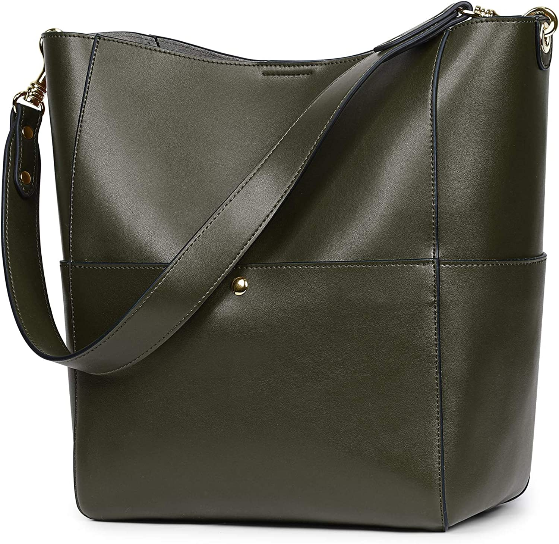 S-ZONE Women Vintage Genuine Leather Bucket Tote Shoulder Bag Hobo Handbag Purse