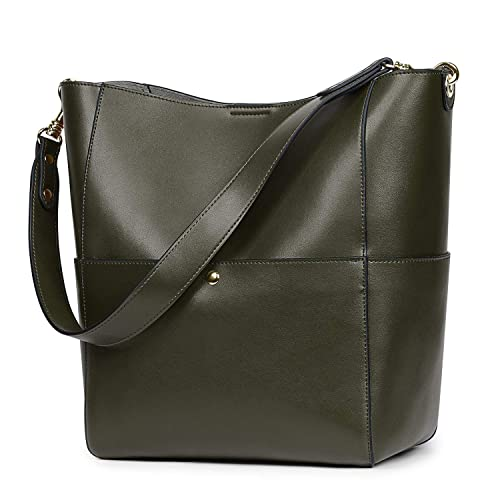 e74211cf5 S-ZONE Women's Vintage Genuine Leather Bucket Tote Shoulder Bag Hobo Handbag  Purse