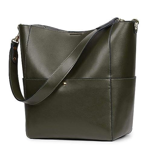 d2f9fa4bdffe0 S-ZONE Women s Vintage Genuine Leather Bucket Tote Shoulder Bag Hobo Handbag  Purse