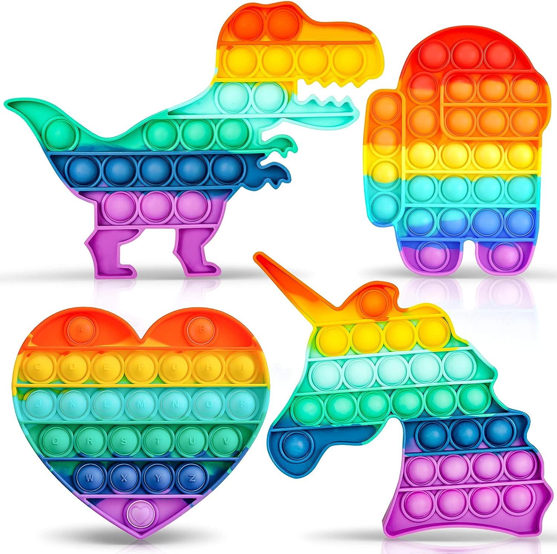 Chanarily 4 Pcs Popper Pop Bubble Fidget Sensory Toy,Colorful De