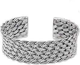 NOVICA .925 Sterling Silver Cuff Bracelet 'Hill Tribe Basketweave'