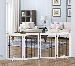Spirich Free Standing Foldable Wire Pet Gate for Dogs, 80 inches Extra Wide, 30 inches Tall 4 Panels Dog Gate for the Houes, Doorway, Stairs, Pet Puppy Safety Fence,Set of Support Feet Included, White