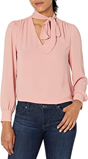 Amazon Brand - Lark & Ro Women's Crepe de Chine Long Sleeve V-Neck Gathered Tie