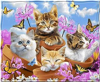 Dawhud Direct Fleece Throw Blanket by Howard Robinson (Garden Wonder Kittens)