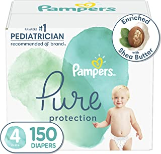 Diapers Size 4, 150 Count - Pampers Pure Protection Disposable Baby Diapers, Hypoallergenic and Unscented Protection, ONE ...