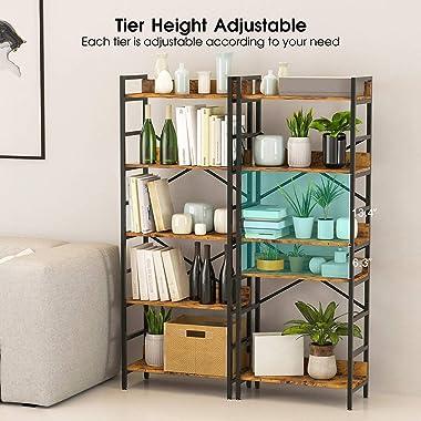 Suaylla 5 Tier Adjustable Tall Bookshelf,Open Back Standing Storage Organizer Display Shelf Unit,Industrial Rustic Bookshelf