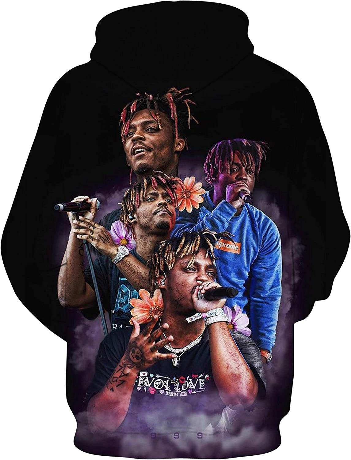 Rapper Ju-ice-Wrld 3d Printed Hoodies Pullover Sweatshirt With Front Pocket For Kids.