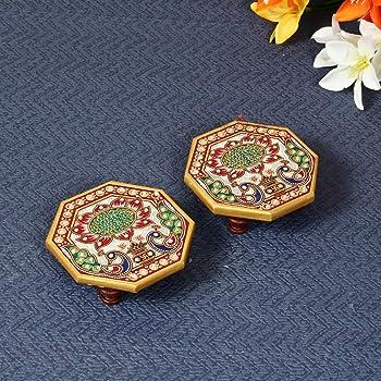 Handicrafts Paradise Octagonal Peacock Design Painted Marble Chowki (10.2 cm x 10.2 cm x 2.55 cm, Set of 2)