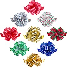 """Zoe Deco Gift Bows (Multiple Colors, 5"""" Wide, 18 Loops, 9 Pack), Weather Resistant Gift Bow, Colorful and Eye-catching Pul..."""