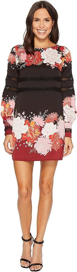 Printed Sheath Dress with Sleeve Detail