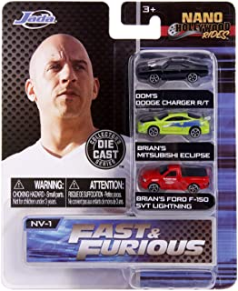 Jada Toys Nano Hollywood Rides Fast & Furious Dom's Dodge Charger R/T, Brian's Mitsubishi Eclipse, Brian's Ford F-150 SVT ...