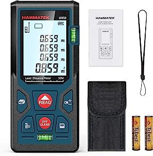 Medidores Laser 50m, Telémetro Láser con 2 Burbujas de Niveles in M/In/Ft, Memorias 99 datos, Pantalla LCD Retroiluminada,...