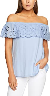 French Connection Women's Scallop Lace Off Shoulder Tee