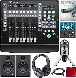 PreSonus FaderPort Controlador de producción de mezcla de 8 canales con actualización de software profesional Studio One 3, monitores de estudio y paquete de estudio de creación de música premium