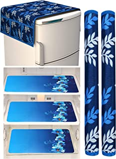 Factcore Premium Quality Combo of Exclusive Decorative Kitchen Combo Fridge Top Cover(Blue Leaf), Fridge Handle Covers (Bl...
