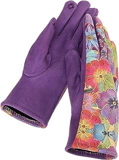 PURPLE FLORAL Printed MicroSuede Women's Gloves