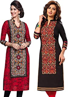 Jevi Prints Women's Unstitched Kurti Material - Pack of 2