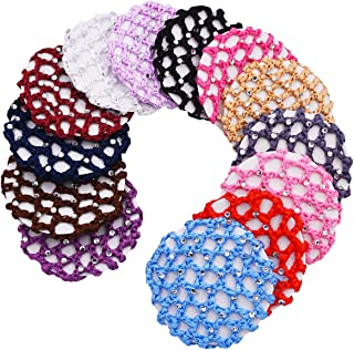STHUAHE 13 PCS Ladies Handmade Knit Mesh Fabric Rhinestone Bun Cover Snood Hair Net hair Accessories For Ballet Dance Skating Sports and Daily Working (13 Color)