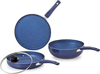 Nirlon Bling 4-Piece Aluminium Non Stick Dishwasher Safe Induction Cookware Gift Set with Glass Lid, Blue