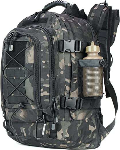 ARMYCAMO Outdoor 3 Day Expandable 40-64L Backpack Military Tactical Hiking Bug Out Bag (Black Multicam)