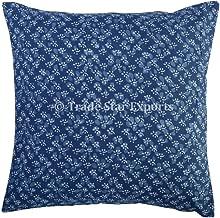 Indigo Block Print Cushions, Reversible Pillow Cover, Indian Outdoor Cushions 16x16, Boho Pillow Shams, Decorative Throw Pillow Cases (Pattern 12)
