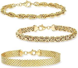 18kt Gold Over Sterling Jewelry Set: 3 Link Bracelets